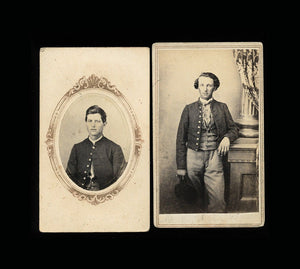2 Civil War Soldiers ~ 1860s CDV Photos ~ Very Likely Lehew Brothers of Ohio