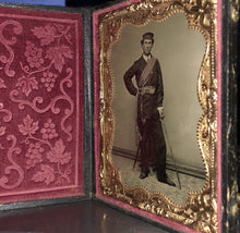 Load image into Gallery viewer, A+ 1/4 Tintype Photo Armed Civil War Soldier Sword & Officer of the Day Sash