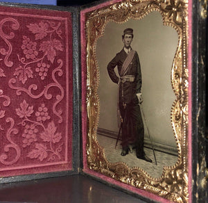 A+ 1/4 Tintype Photo Armed Civil War Soldier Sword & Officer of the Day Sash
