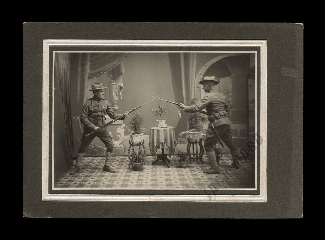Antique Indian War Era Armed Army Soldiers Cabinet Photo Excellent Action Shot!