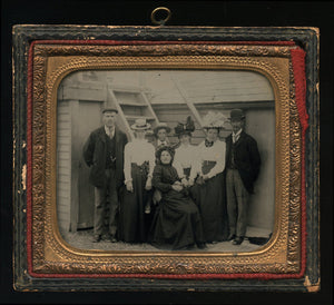 Wonderful Outdoor Group Shot ~ 1/6 Ambrotype Photo