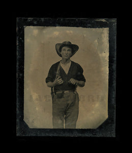 Amazing (4x) Armed Civil War Soldier Swinging Knife! 1/6 Tintype - Neff's Patent
