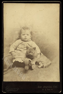 Antique 1880s Cabinet Photo Little Boy with Cat - Los Angeles Photographer!