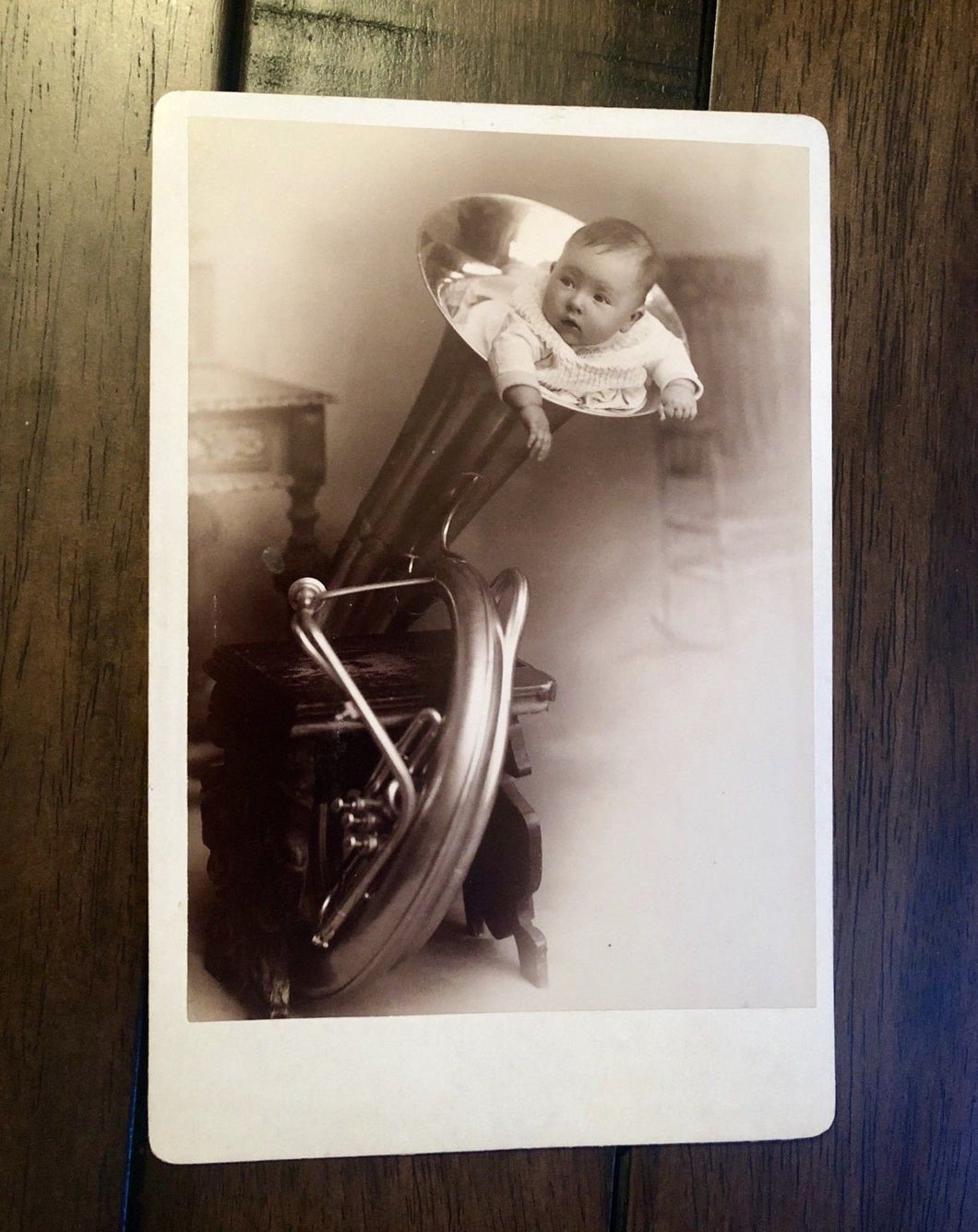Really Weird & Unique Cabinet Card Photo - Baby Stuffed In Tuba!