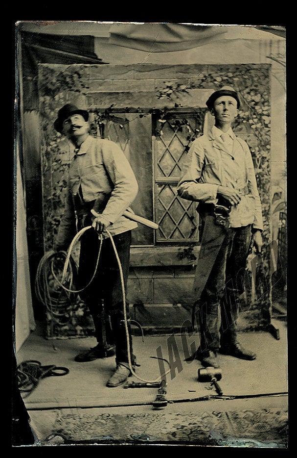 Occupational Tintype - Telegraph Linemen (?) with Rope and other Tools