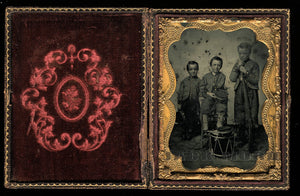 1/4 Ambrotype Photo of Three Civil War Drummer Soldier Boys, 1860s