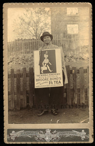 Rare Occupational Cabinet Card - Man Wearing Sandwich Board Advertising Tea