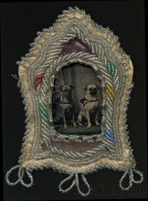 Load image into Gallery viewer, Antique Tintype Photo Two Pug Dogs in American Folk Art Bead Frame