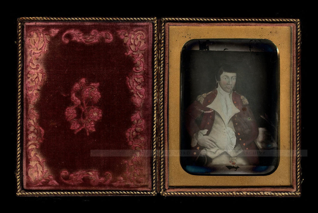 Rare Daguerreotype Painting of British Revolutionary War Soldier Tinted Red Coat
