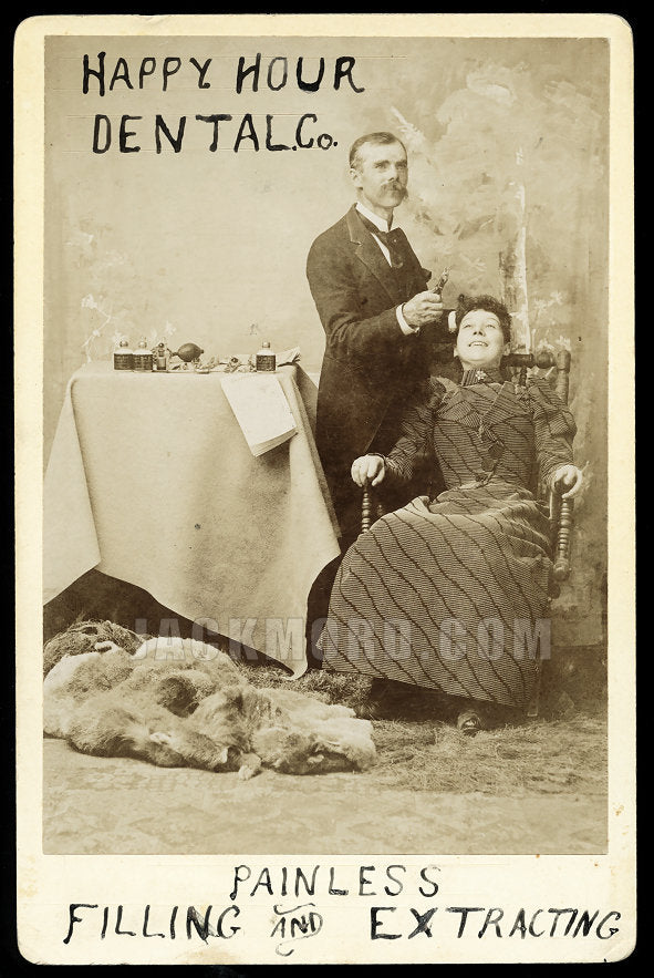 Rare Antique Occupational Advertising Cabinet Card - SLC Utah Dentist at Work with Patient