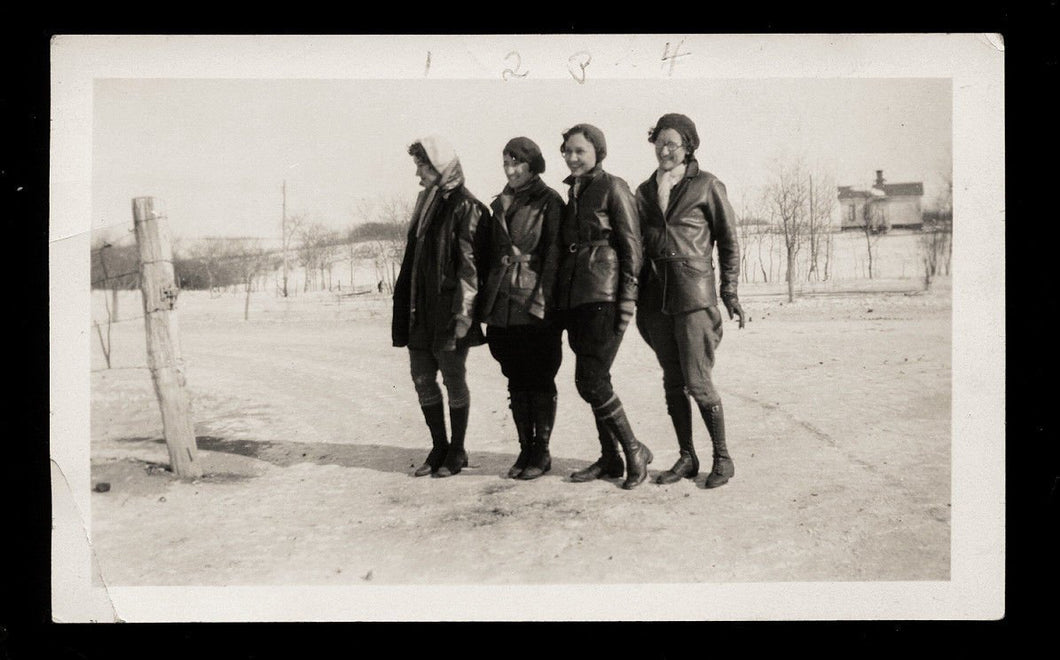 1910s vintage snapshot photo id'd girls / girlfriends sexy snow boots & socks