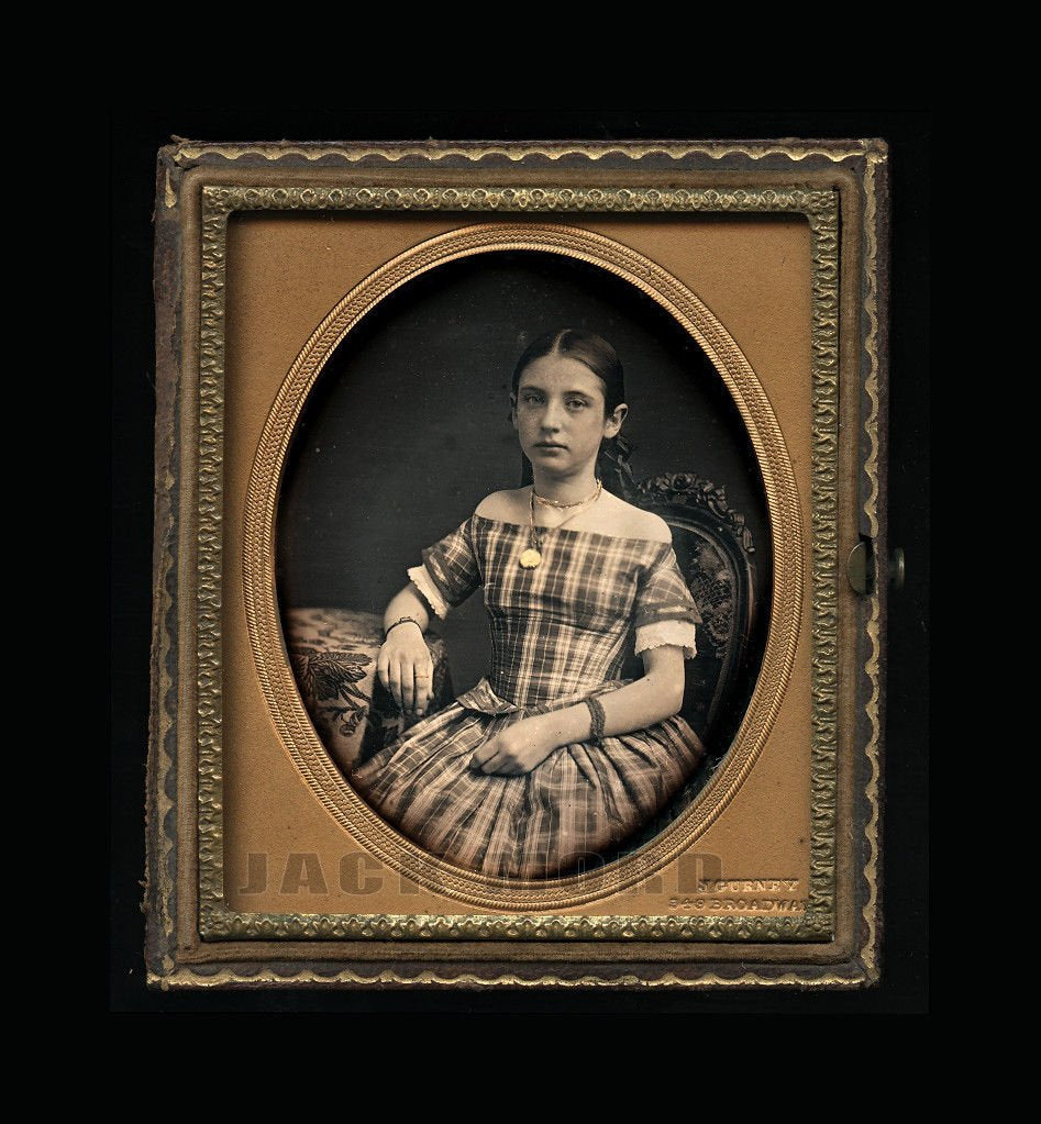Jeremiah Gurney Daguerreotype of Pretty Girl w Gold Jewelry ~ Dated Nov 1854