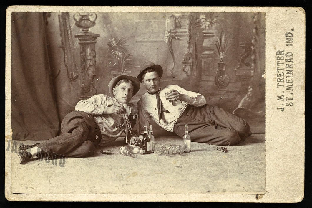 Two Men Reclining on Floor w Alcohol Cigars & Pistols - Indiana 1890s