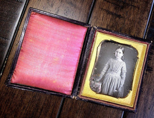 Daguerreotype Of Little Girl Holding Book - Tinted Flowers & Tablecloth _ Sealed