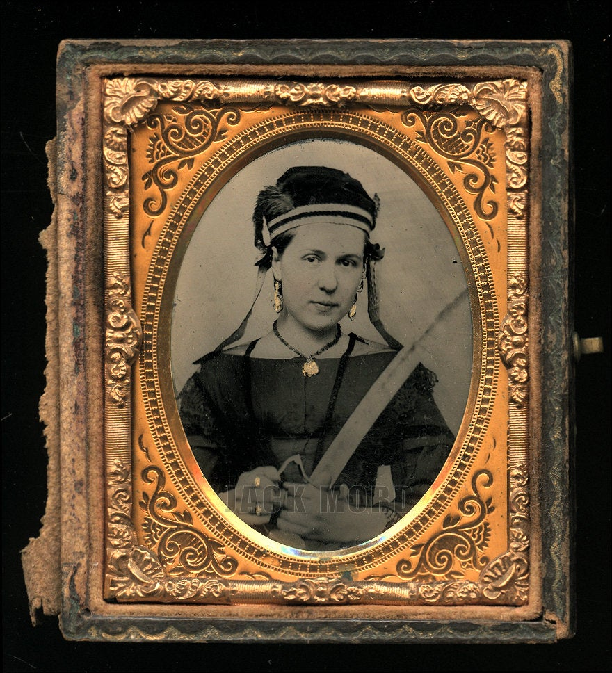 Amazing! Young Civil War Era Woman Holding Sword with Feather Cap! Vivandiere or Possible Mourning?