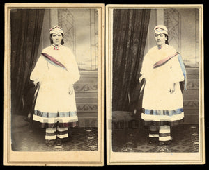 Two Rare CDV Photos - Political Parade Marcher Girls in Patriotic Costumes / 1860s Maine