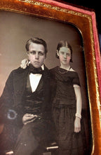 Load image into Gallery viewer, 1/4 Daguerreotype Affectionate Siblings James & Freckle Faced Emma / Boy  Girl