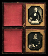 Load image into Gallery viewer, Young Couple Husband & Wife Wearing Mourning Bands Matching 1840s Daguerreotype Set