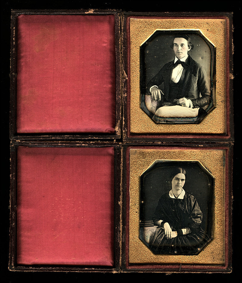 Young Couple Husband & Wife Wearing Mourning Bands Matching 1840s Daguerreotype Set