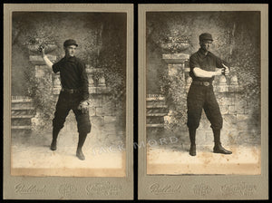 Antique Photo Set Baseball Player Brothers from Wisconsin 1890s
