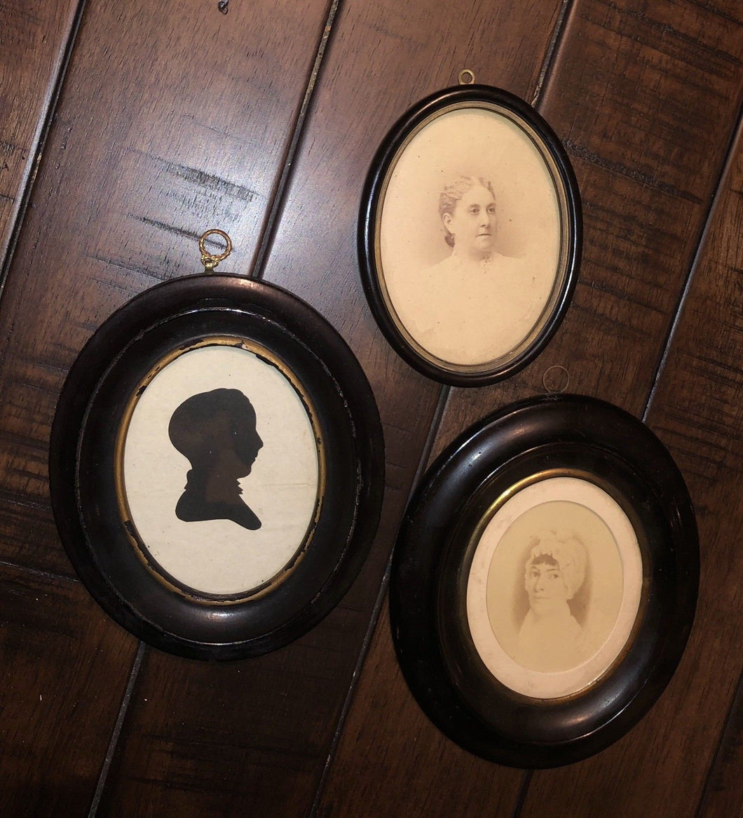 3 Antique Framed Portraits inc Silhouette - Ritter / French Family Pennsylvania