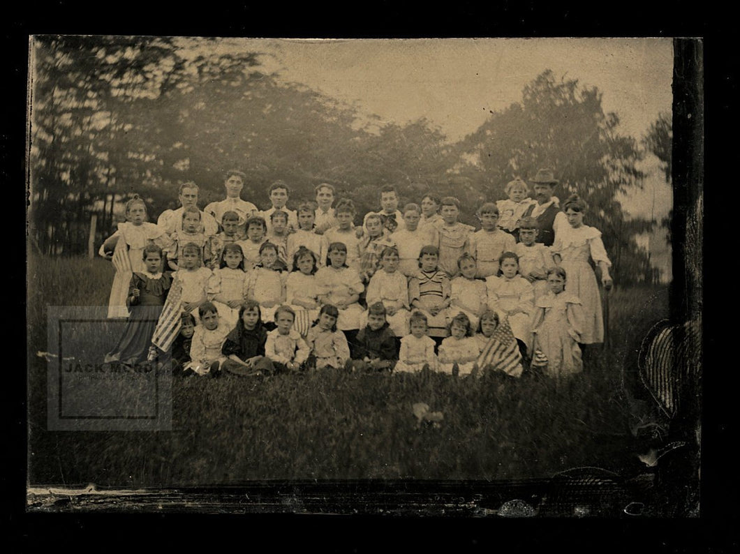Great Outdoor Tintype Photo Little Girls School ? Waving US Flags Prob Virginia