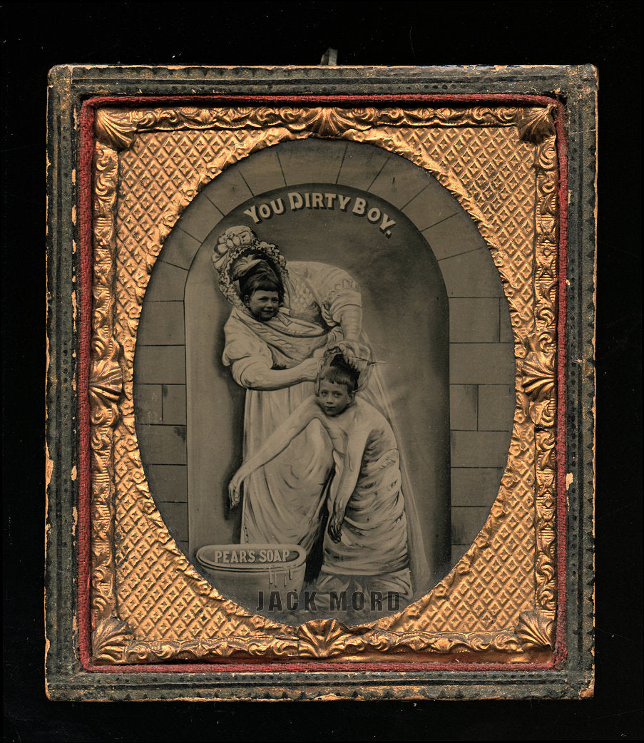 You Dirty Boy - Unusual Soap Advertising AMBROTYPE - Antique Photo - Humor