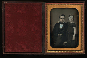 1/4 Daguerreotype Affectionate Siblings James & Freckle Faced Emma / Boy  Girl