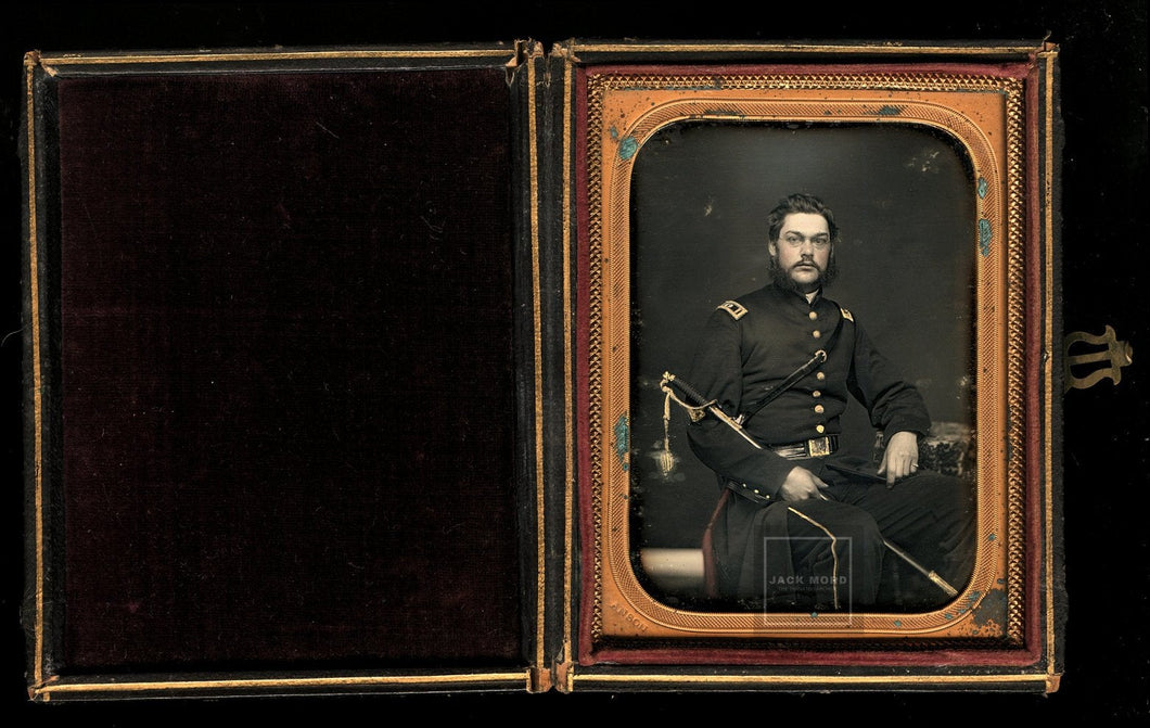 1/4 Daguerreotype 1850s or Civil War Era Soldier Officer by Anson New York ID'd