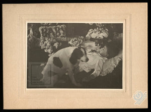 Very Special Post Mortem Photo Little Boy Guarded by his Pet Dog Wisconsin c1905