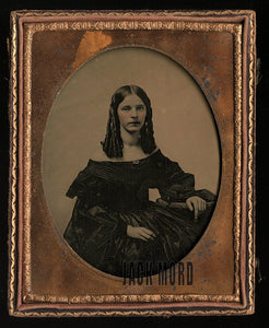 half plate ambrotype pretty teen girl ringlet curl hair - id'd - died at age 19