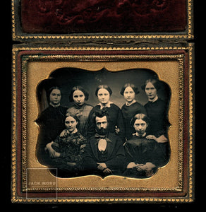 Antique 1850s Daguerreotype Group Photo Man & SEVEN Women - Mormon Family ?