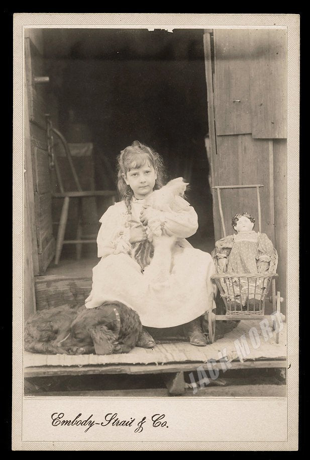 19th Century Photo Castle Rock Washington Girl with Doll & Pets - Two Kittens and Sleeping Dog!