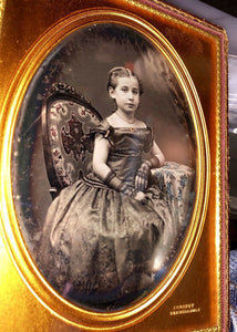 Beautiful tinted HALF PLATE daguerreotype by Jeremiah Gurney - Little Girl