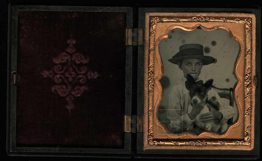 Ambrotype Southern Boy in Straw Holding Dog - Jack Russell Terrier?