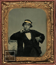 Load image into Gallery viewer, Great 1/6 Ambrotype Casual Cigar Smoking Navy Man / Civil War / 1860s