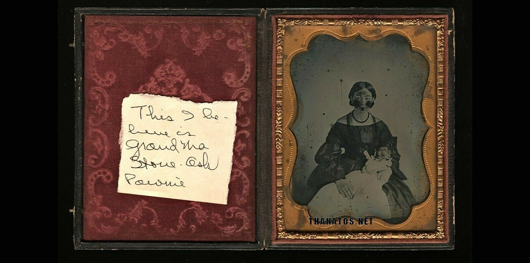 1/4 1850s Ambrotype Identified Virginia Woman and Tiny Newborn Post Mortem Baby