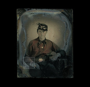 1860s Ambrotype Photo Young Confederate Civil War Soldier - Red Battle Shirt, Peacock Feather