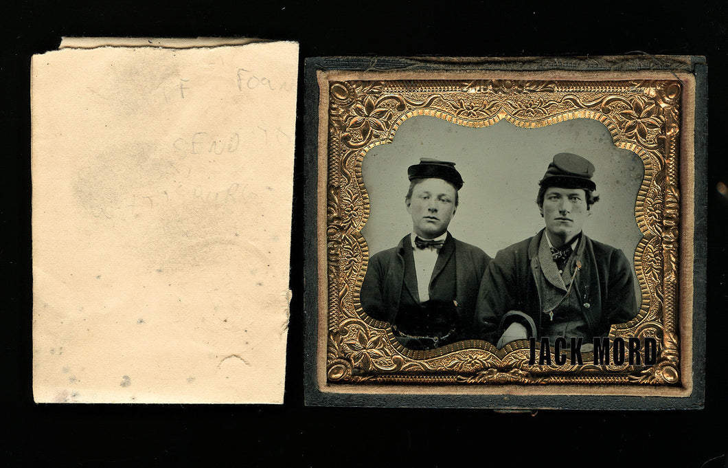 Tintype Civil War Soldiers Interlocked Arms w' Note Ref Gettysburg & Confederate