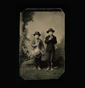 Excellent Antique Tintype Photo ID'd Drummer & Horn Player Musician Boys Tinted
