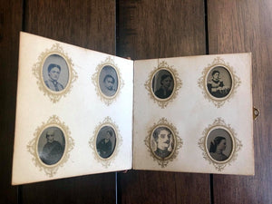 Miniature Antique 19th Century Tintype Album & 96 Original Photos / 1860s 1870s