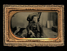Load image into Gallery viewer, 1860s Tintype Photo - Boy in Photographer Studio with Sleeping Spaniel Hunting Dog