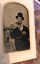 "Load image into Gallery viewer, Wonderfully Named ""CLEVELAND OHIO Litteer"" Antique tintype Photo ID'd violin player"