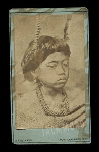 RARE Antique 1800s Photo Maori Child New Zealand Photographer De Maus
