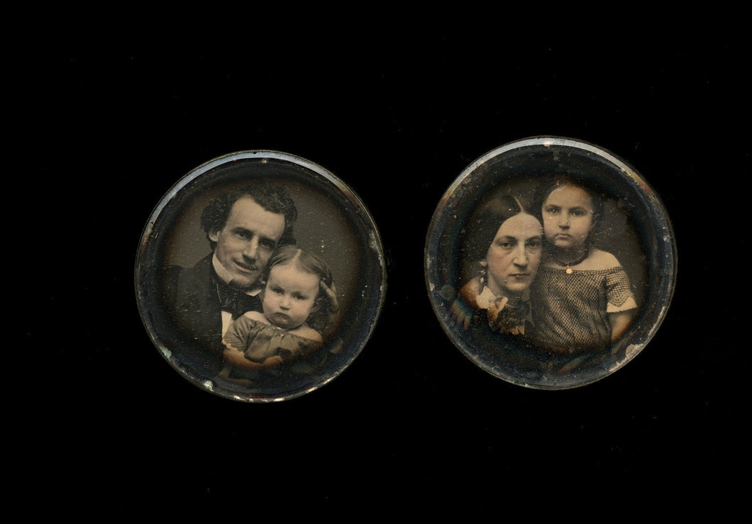Pair of Daguerreotype Miniatures Man & Wife w' their Children Affectionate Poses