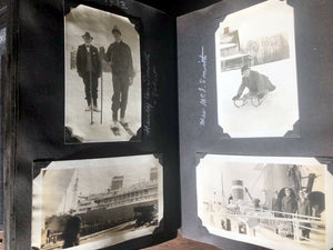 3 quality antique or vintage snapshot albums with 451 photos & postcards
