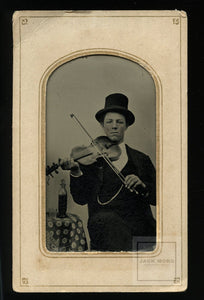"Wonderfully Named ""CLEVELAND OHIO Litteer"" Antique tintype Photo ID'd violin player"