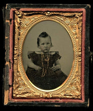 Load image into Gallery viewer, 1860s Ambrotype Photo Little Boy Funny Hair Gold Necklace and Tinted Dress
