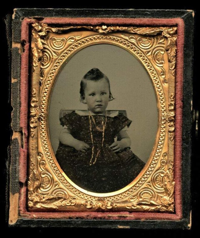 1860s Ambrotype Photo Little Boy Funny Hair Gold Necklace and Tinted Dress