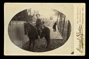 great outdoor street scene id'd boy on horse with note - stockton california 1880s